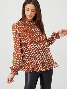 v-by-very-polka-dot-pleated-top-brown