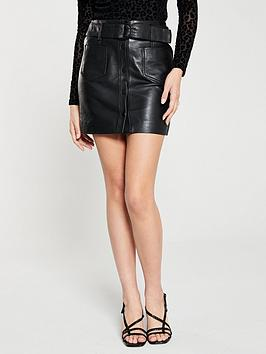 mango-pocket-front-leather-skirt-black