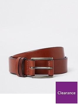 river-island-tan-leather-keeper-belt