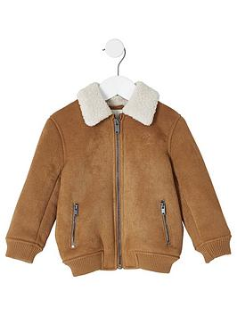 river-island-mini-mini-boys-faux-suede-bomber-jacket-brown