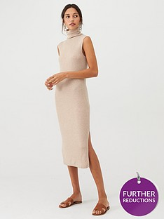 mango-high-neck-jersey-midi-dress-grey