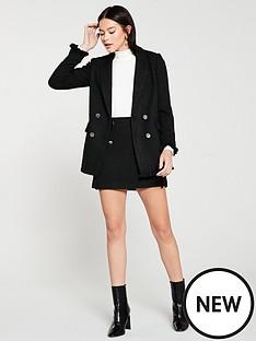 mango-tweed-button-detail-blazer-black