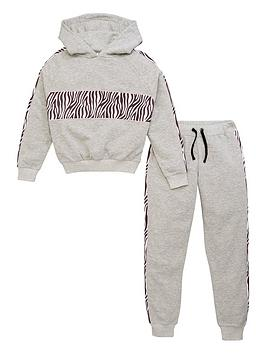 V by Very V By Very Girls 2 Piece Animal Detail Hoodie &Amp; Jogger Outfit  ... Picture