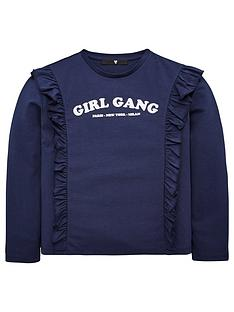 v-by-very-girls-girl-gang-long-sleeve-ruffle-shoulder-top-navy