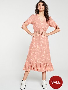 mango-polka-dot-frill-bottom-midi-dress-pink