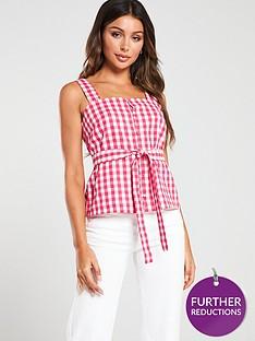 mango-sleeveless-tie-belt-blouse-pink