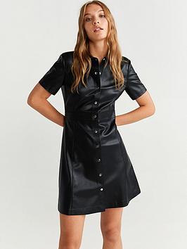 Mango Mango Pu Leather Shirt Dress Picture