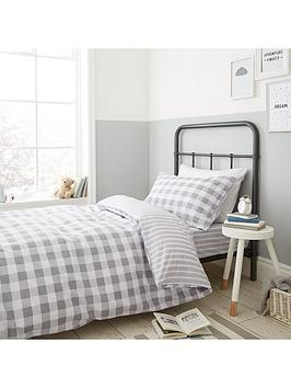 Bianca Cottonsoft Bianca Cottonsoft Bianca Grey Check Duvet Cover Set Picture