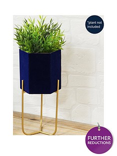 navy-planter-with-metal-stand