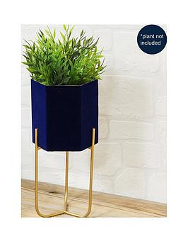 Very Navy Planter With Metal Stand Picture