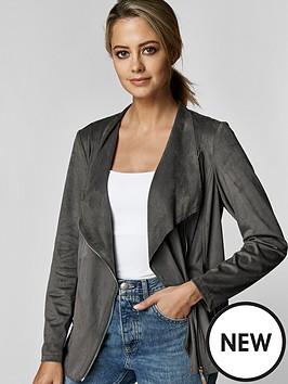 wallis-wallis-petite-suedette-zip-jacket