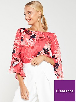 wallis-vivid-oriental-flute-sleeve-blouse-pink