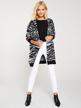 wallis-zebra-fluffy-cardigan-blackwhite