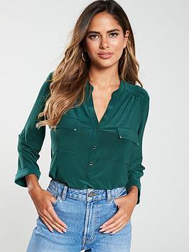 wallis-button-detail-utility-shirt-forest-green