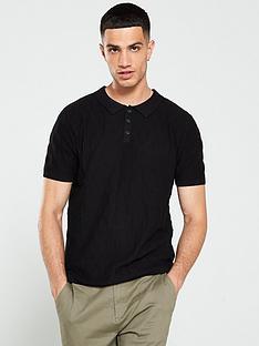 jack-jones-jeans-intelligence-grid-knitted-polo-shirt-black