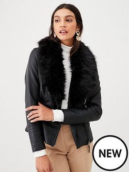 wallis-mercia-glam-faux-fur-biker-black