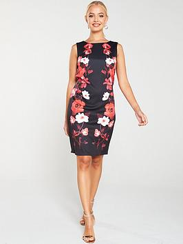 wallis-trailing-rose-scuba-shift-dress-black