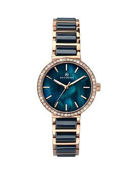 Accurist Accurist Accurist Blue Mother Of Pearl Crystal Set Dial Rose Gold  ... Picture
