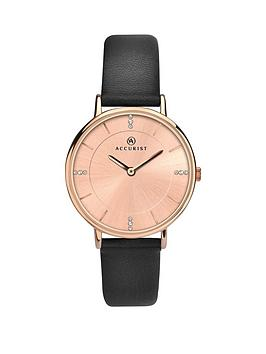 Accurist Accurist Accurist Rose Gold Sunray And Crystal Set Dial Black  ... Picture