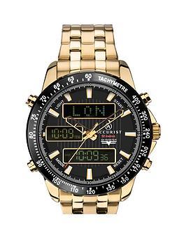 Accurist Accurist Accurist Black World Time Chronograph Dial Gold  ... Picture