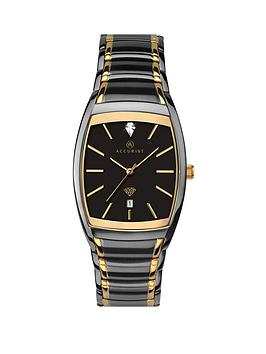 Accurist   Black And Gold Detail Diamond Set Date Dial Two Tone Stainless Steel Bracelet Mens Watch