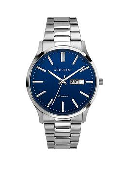 Accurist   Blue Daydate Dial Stainless Steel Bracelet Mens Watch