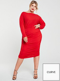 ax-paris-curve-slash-neck-ruchednbspdress-red