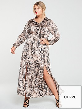 ax-paris-curve-snake-print-maxi-shirt-dress-grey