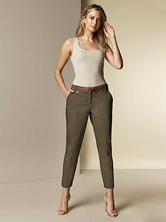 wallis-petite-double-faced-belted-cigarette-trousers-khaki