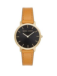 rebecca-minkoff-rebecca-minkoff-black-and-gold-detail-dial-brown-leather-strap-ladies-watch
