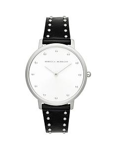 rebecca-minkoff-rebecca-minkoff-white-and-silver-detail-dial-black-studded-leather-strap-ladies-watch
