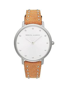 rebecca-minkoff-rebecca-minkoff-white-and-silver-detail-dial-brown-studded-leather-strap-ladies-watch