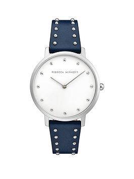 Rebecca Minkoff Rebecca Minkoff Rebecca Minkoff Silver Dial Black Leather  ... Picture