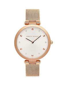 rebecca-minkoff-rebecca-minkoff-white-and-rose-gold-detail-dial-rose-gold-stainless-steel-mesh-strap-ladies-watch