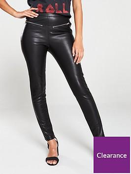 religion-steel-zip-faux-leather-leggings-black