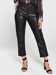 religion-girlfriend-fit-faux-leather-trouser-black