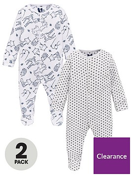 v-by-very-baby-unisex-2-star-and-woodland-sleepsuits-white