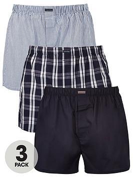Calvin Klein   3 Pack Woven Boxer Shorts - Blue/Grey