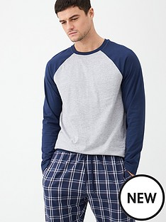 v-by-very-long-sleeved-raglan-top-amp-checked-bottoms-pyjamas-grey-marlnavy