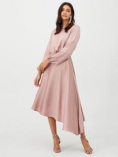 v-by-very-blouson-sleeve-satin-midi-dress-blush