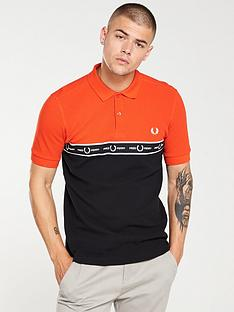 fred-perry-taped-chest-polo-shirt-orangeblack