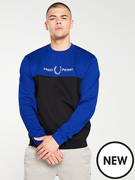 fred-perry-crew-neck-sweatshirt-carbon-blue