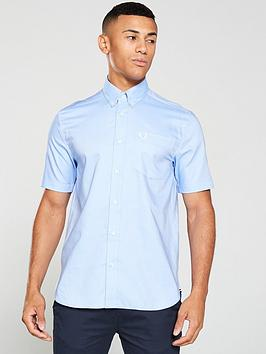 Fred Perry Fred Perry Short Sleeved Oxford Shirt - Blue Picture