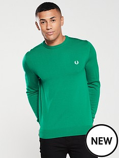 fred-perry-classic-merino-crew-neck-jumper-racing-green