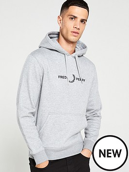 fred-perry-graphic-hoodie-grey-marl