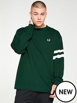 fred-perry-tipped-sleeve-sweatshirt-ivy-green