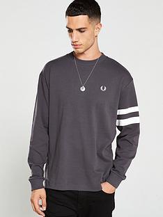 fred-perry-tipped-sleeve-sweatshirt-grey