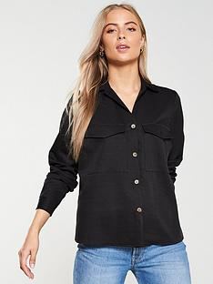 v-by-very-horn-button-utility-shirt-black