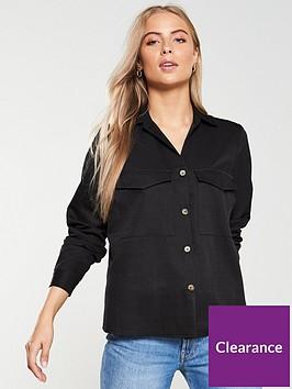 v-by-very-horn-button-utility-shirt-black