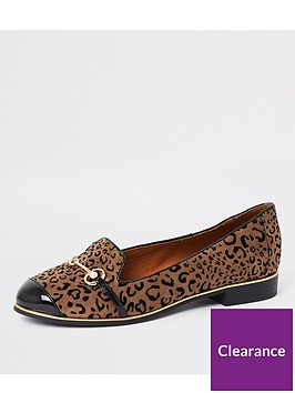 river-island-river-island-printed-wide-fit-snaffle-loafers-brown